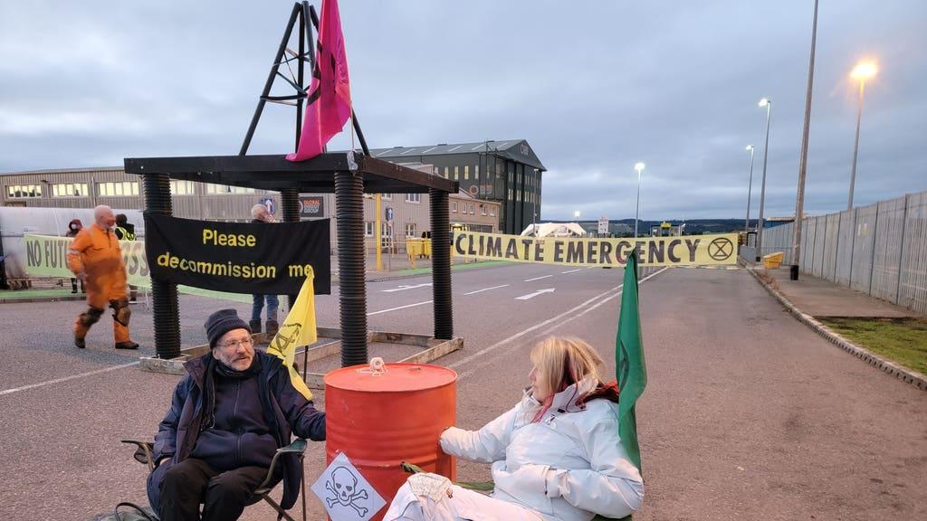Blockade: Activists at rig maintenance facility.